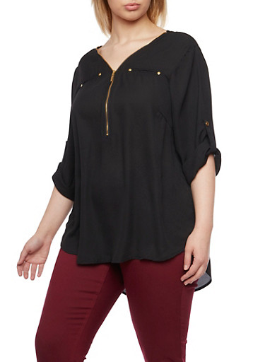 Plus Size Zipper V Neck Top with Pockets,BLACK,large