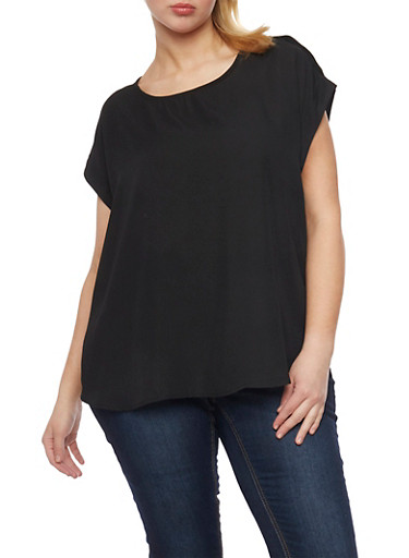 Plus Size Crepe Blouse with Tabbed Short Sleeves,BLACK,large