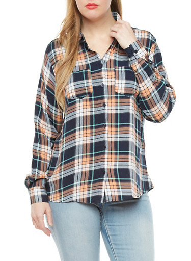 Plus Size Plaid Lightweight Button Down Top,NAVY,large