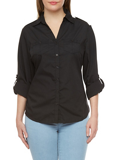 Plus Size Button Down Top with Convertible Sleeves and Ribbed Sides,BLACK,large