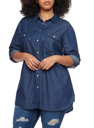 Plus Size Chambray Top with Snap Buttons,NAVY,large