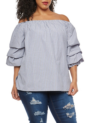 Plus Size Tiered Sleeve Off the Shoulder Top,NAVY,large