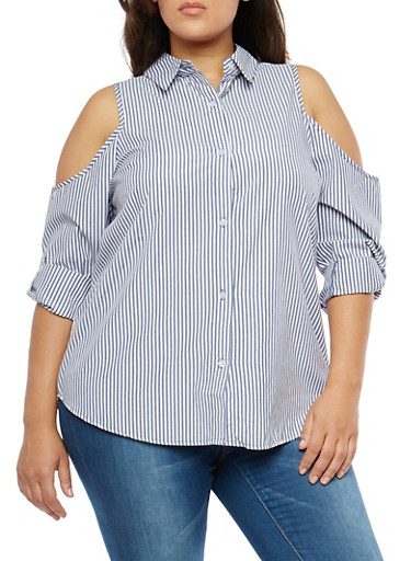 Plus Size Striped Cold Shoulder Button Front Shirt,NAVY,large