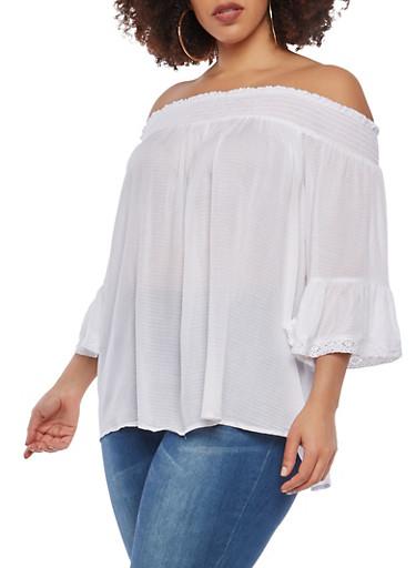 Plus Size Gauze Knit Off the Shoulder Top,WHITE,large