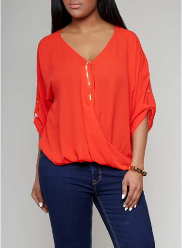 Zip Front Blouse Plus Size 114