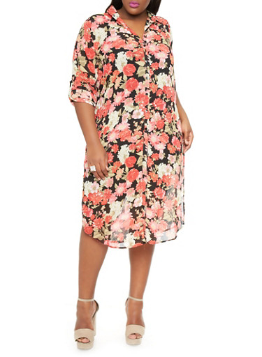 Plus-Size Printed Maxi Button-Down Shirt,CORAL,large