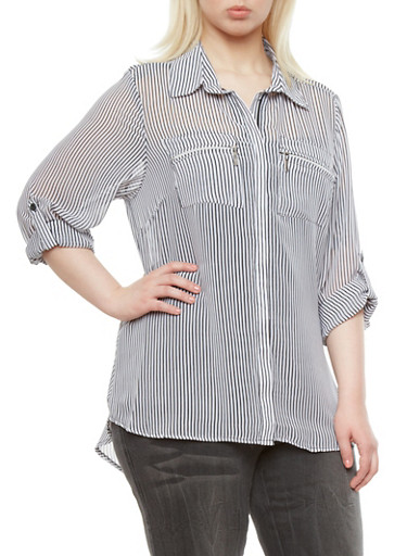 Plus Size Sheer Pin Stripe Collared Shirt with Zipper Accent Pockets,BLACK/WHITE,large