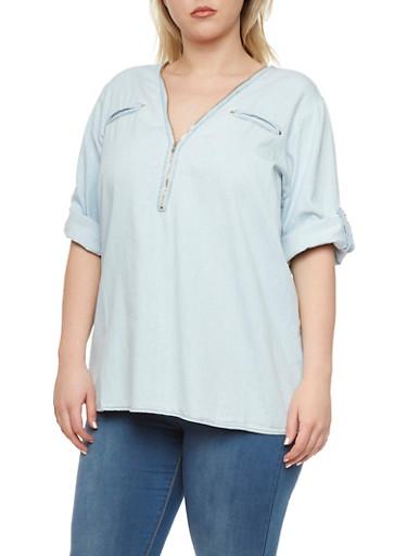 Plus Size Denim Top with Zipper Neckline,LIGHT WASH,large