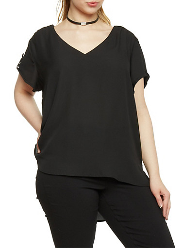 Plus Size High Low V Neck Top,BLACK,large