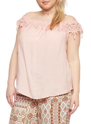 Plus Size Off the Shoulder Top with Crochet Neckline,BLUSH,large