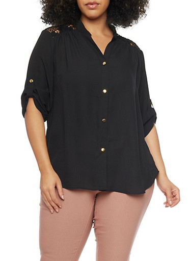Plus Size Button Front Shirt with Crochet Panel,BLACK,large