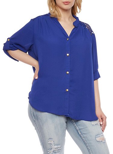Plus Size Button Front Shirt with Crochet Panel,RYL BLUE,large