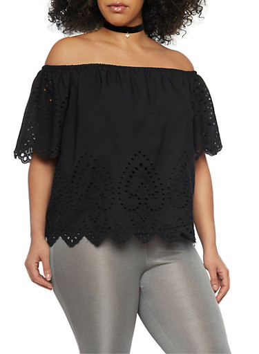 Plus Size Off the Shoulder Eyelet Top with Short Sleeves,BLACK,large
