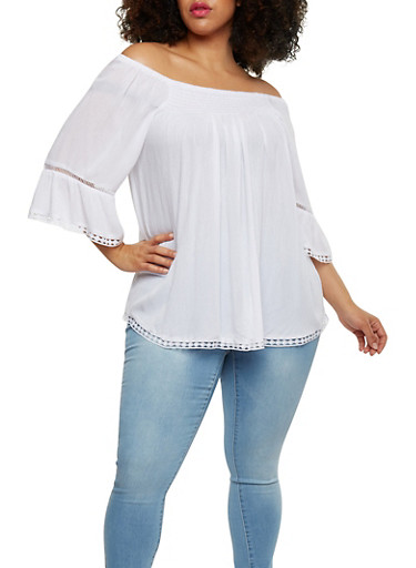 Plus Size Off the Shoulder Peasant Top with Crochet Trim,WHITE,large