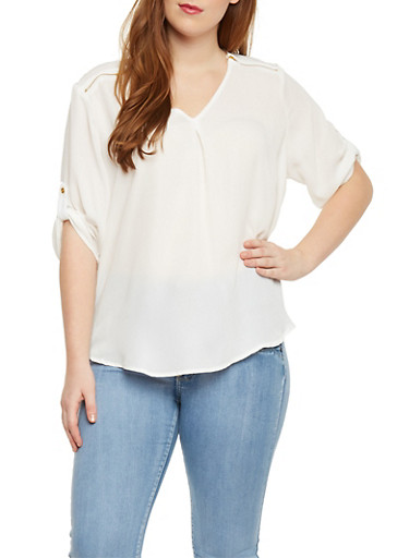 Plus Size Chiffon Top with Zip Shoulder Accents,IVORY,large