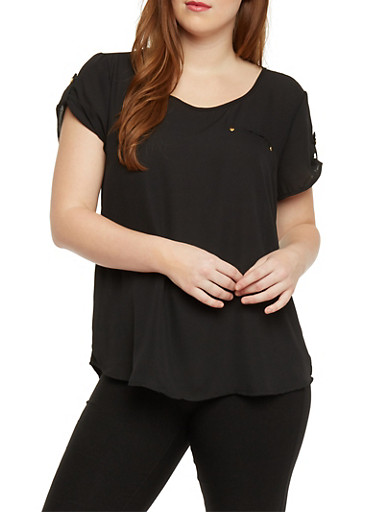 Plus Size Scoop Neck Top with Zip Back Detail,BLACK,large