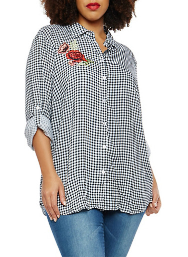 Plus Size Embroidered Gingham Print Button Front Shirt,BLACK,large