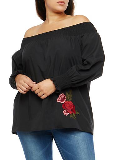 Plus Size Floral Applique Off the Shoulder Top,BLACK,large
