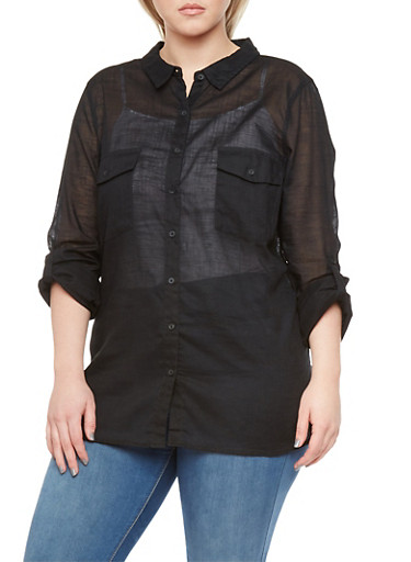 Plus Size Shirt with Roll Up Sleeves,BLACK,large
