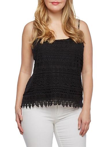 Plus Size Crochet Tank Top,BLACK,large