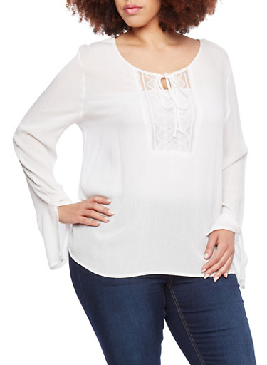 Plus Size Boho Top with Lace Inset,IVORY OFF WHITE,large