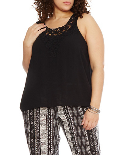 Plus Size Sleeveless Top with Crochet Trim,BLACK,large