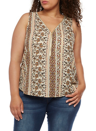 Plus Size Sleeveless Printed Top with Zipper,TAN,large