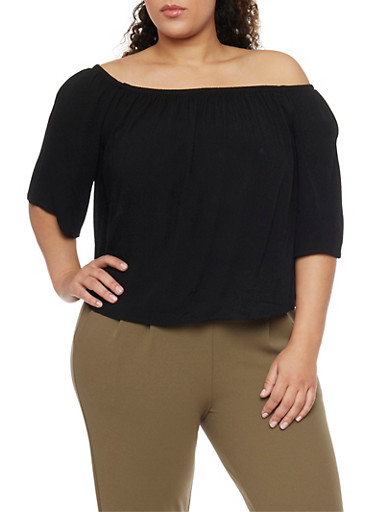 Plus Size Off the Shoulder Chiffon Top with Cropped Hem,BLACK,large