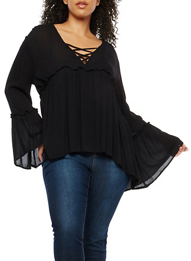 Plus Size Bell Sleeve Babydoll Top,BLACK,large
