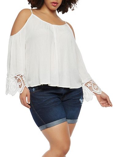 Plus Size Crochet Trim Cold Shoulder Top,OFF WHITE,large