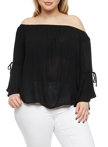 Plus Size Off the Shoulder Peasant Top,BLACK,large