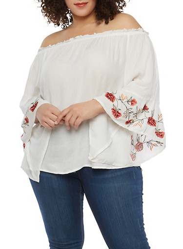 Plus Size Off the Shoulder Embroidered Bell Sleeve Top,IVORY RED,large
