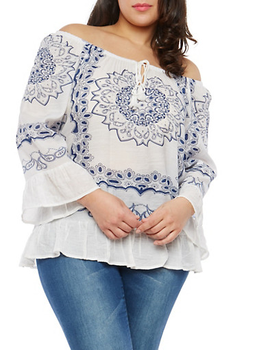 Plus Size Printed Ruffle Trim Top,WHITE,large