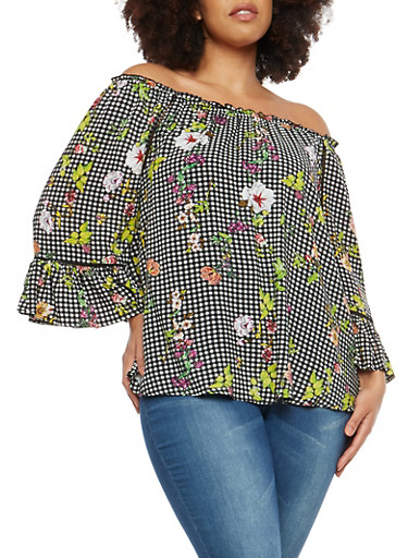 Plus Size Gingham Floral Off the Shoulder Top,BLACK,large