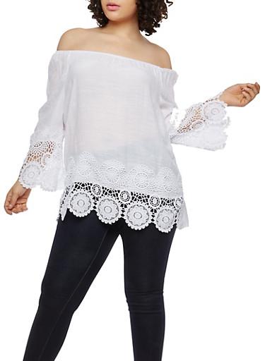Plus Size Crochet Trim Top,WHITE,large