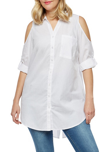 Plus Size Cold Shoulder Button Front Shirt,WHITE,large