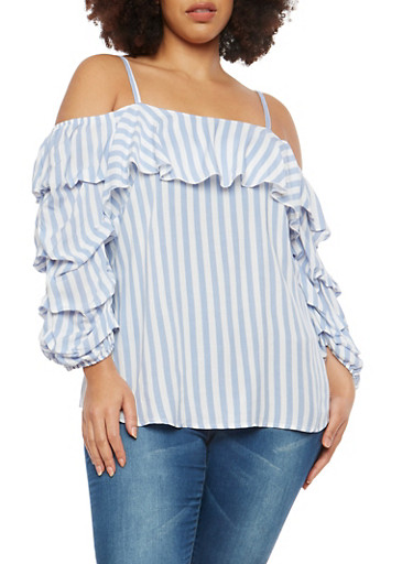 Plus Size Striped Tiered Sleeve Off the Shoulder Top,BLUE,large