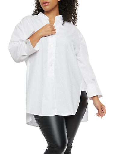 Plus Size High Low Button Front Tunic Top,WHITE,large