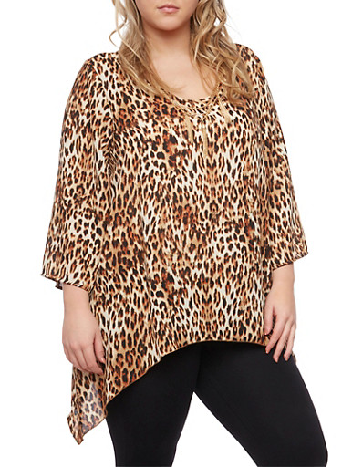 Plus Size Leopard Print Top with Removable Necklace,BLACK,large
