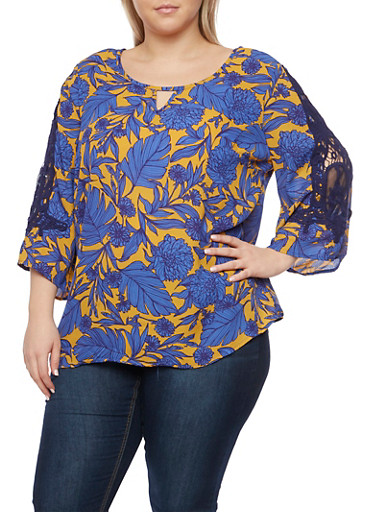 Plus Size Floral Print Top with Crochet Sleeves,PURPLE/MUSTARD,large