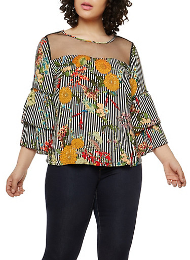 Plus Size Floral Stripe Tiered Sleeve Top,BLACK,large