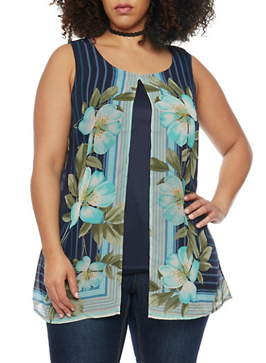 Plus Size Split Front Floral Print Top,NAVY,large