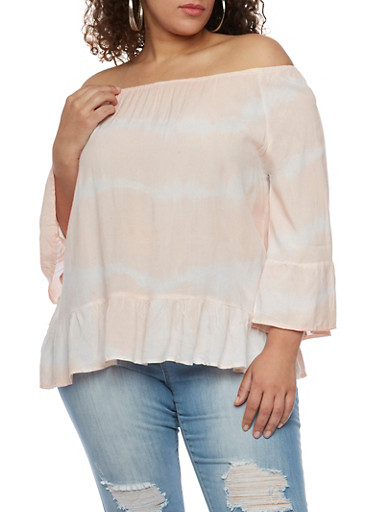 Plus Size Tie Dye Off the Shoulder Peasant Shirt with Ruffle Hem,PINK,large