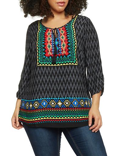 Plus Size Dashiki Print 3/4 Sleeve Top,GRAY,large