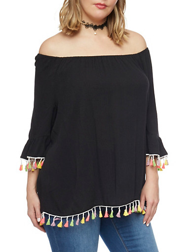 Plus Size Off The Shoulder Top with Neon Fringe Trim,BLACK,large