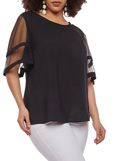 Plus Size Mesh Tier Sleeve Top,BLACK,large