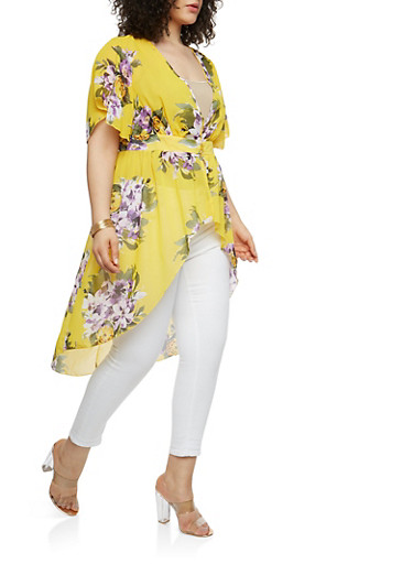 Plus Size Yellow Floral High Low Maxi Top,YELLOW,large