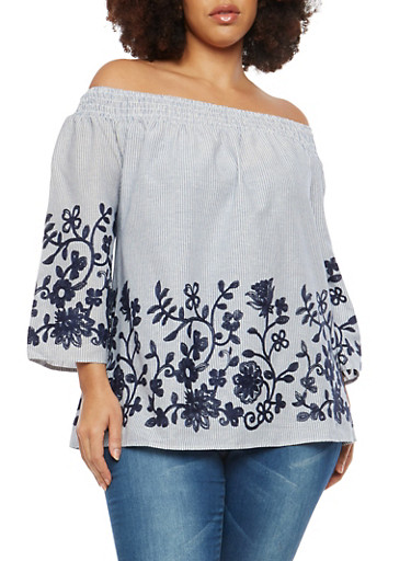 Plus Size Striped Floral Embroidered Off the Shoulder Top,BLUE,large