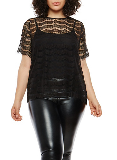 Plus Size Lace Top with Back Zipper,BLACK,large