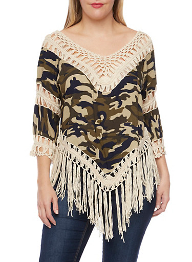 Plus Size Camo Print Top with Crochet Panels,NATURAL  FRINGE,large